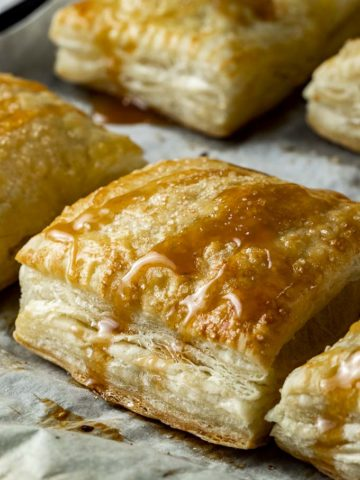 side view of baked puff pastry square