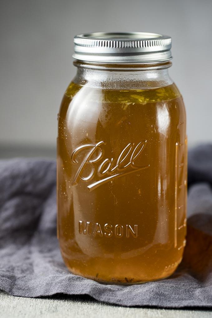 chicken broth in a glass jar