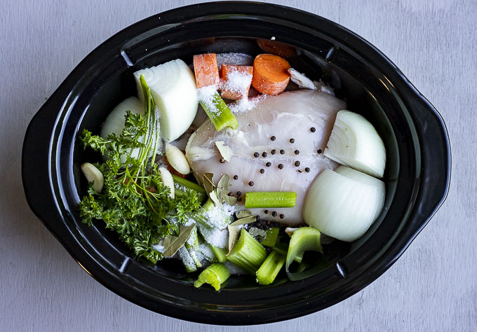 chicken and vegetables in a crockpot