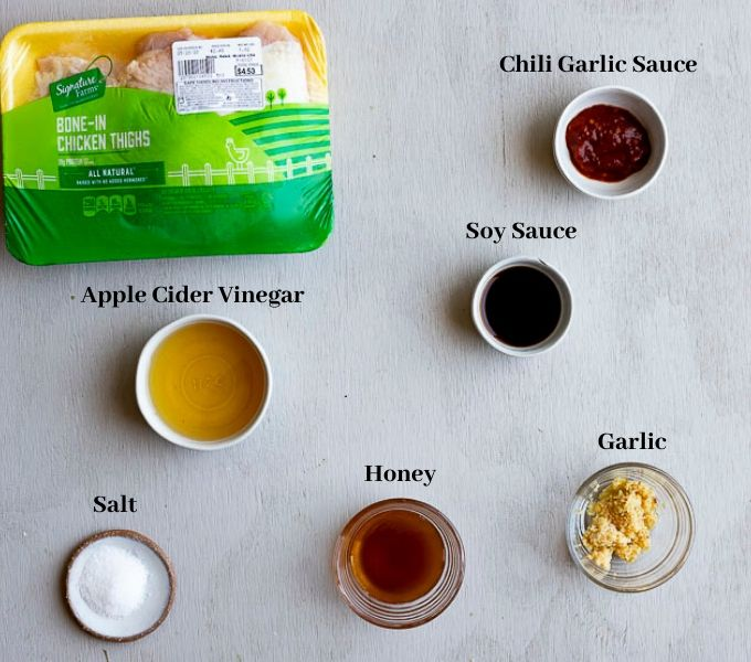 ingredients for honey garlic chicken