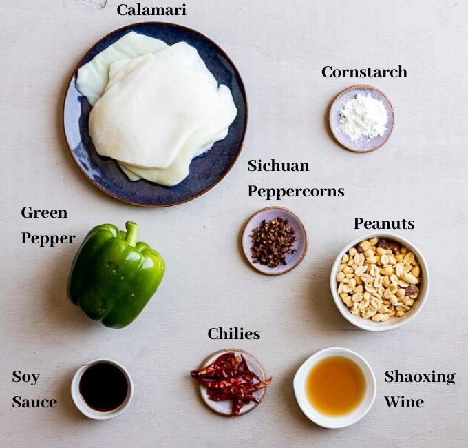 ingredients for kung pao calamari