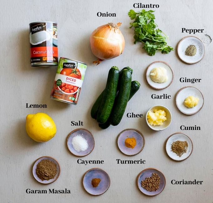 ingredients for zucchini curry