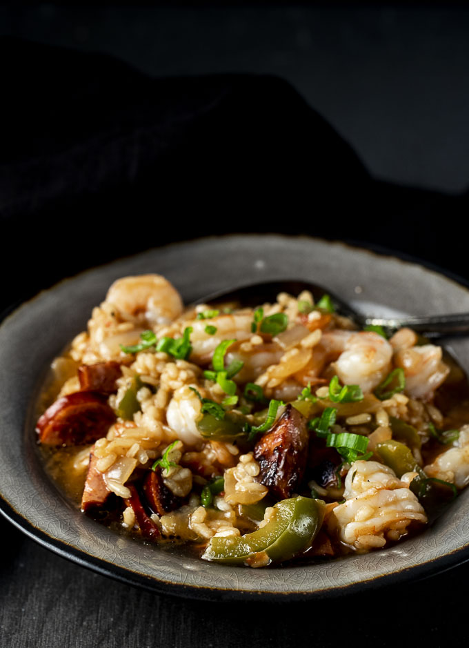 bowl of risotto with shrimp and sausage