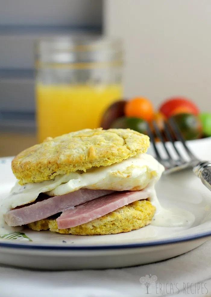 biscuit sandwich with ham