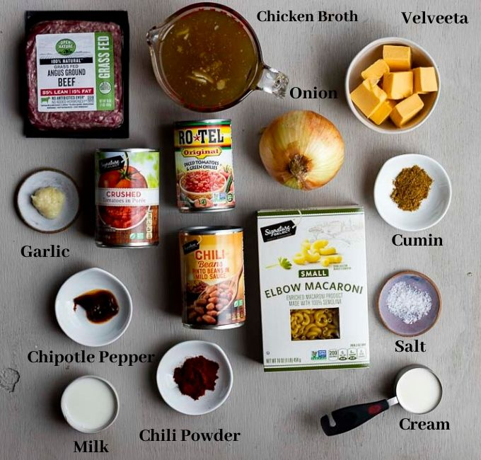 ingredients for chili mac