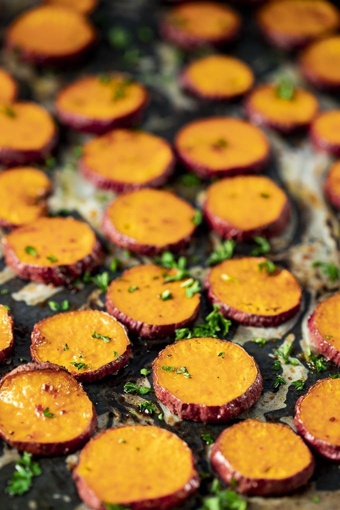 sweet potato slices on a tray