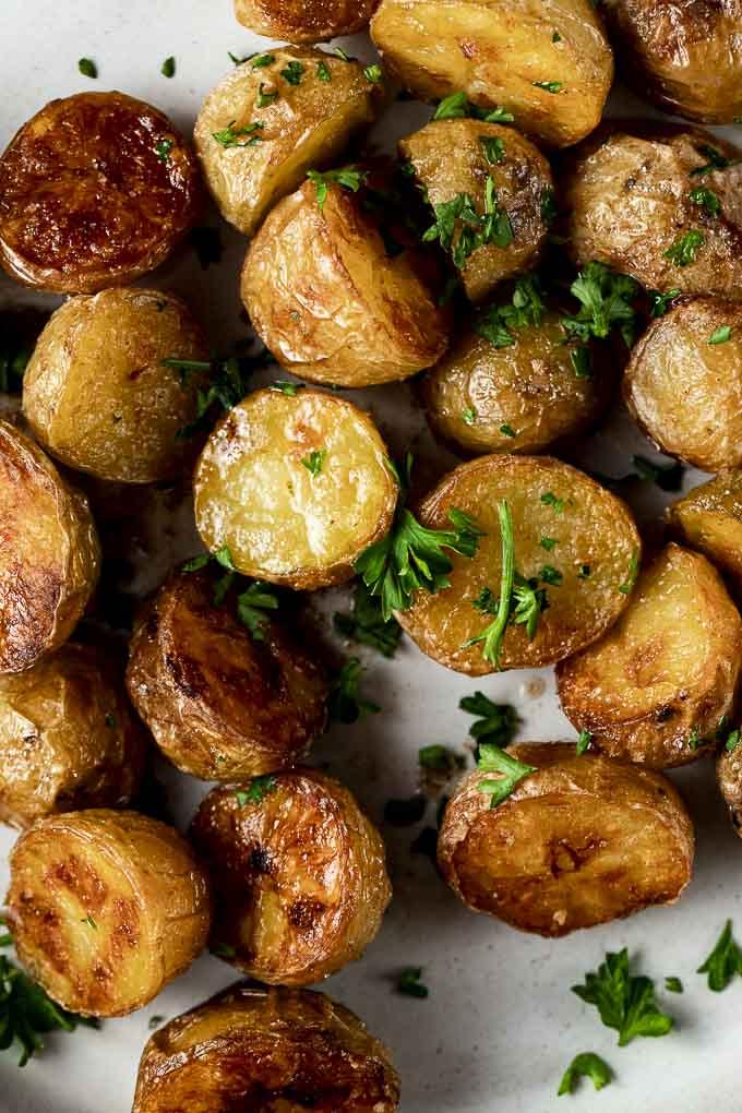 roaste potatoes garnished with cilantro