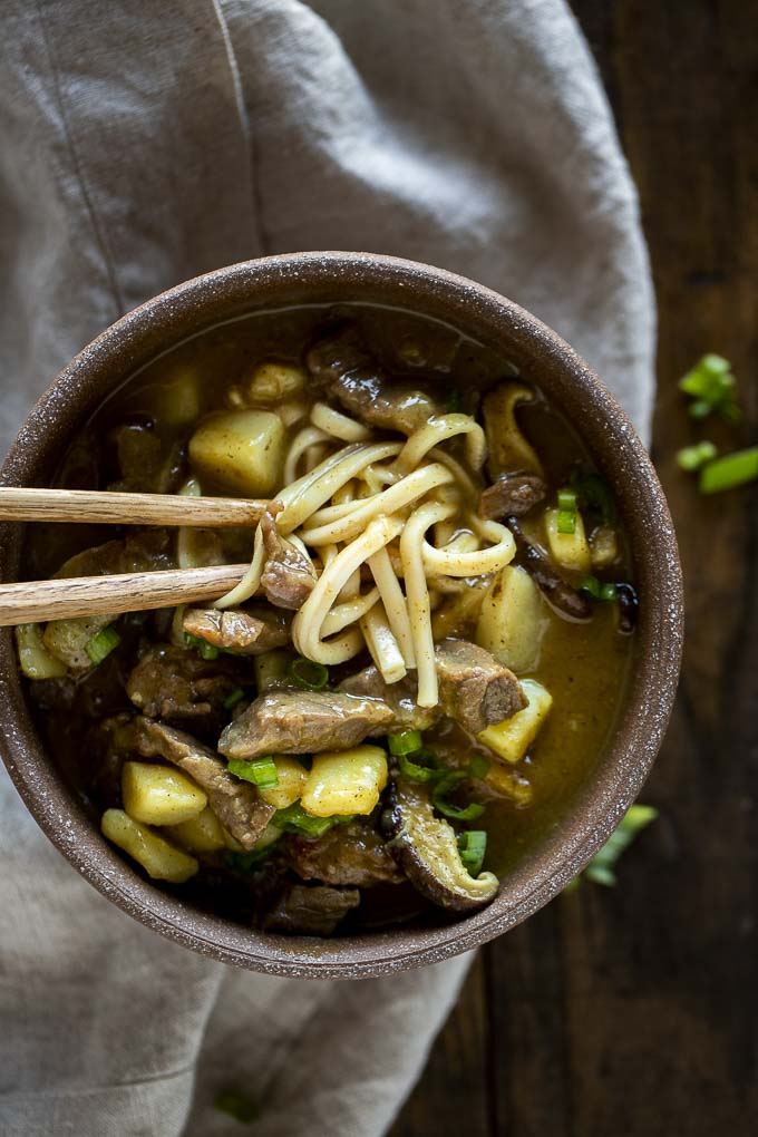 a bowl of brown gravy with noodles, beef and potato garnished with green onions