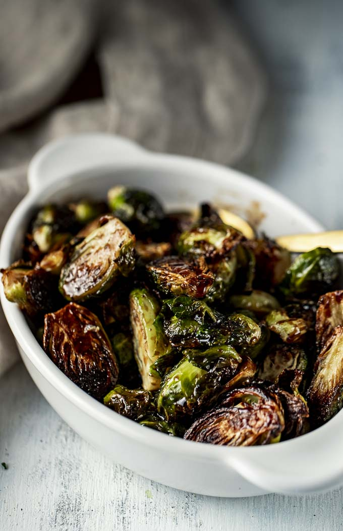 roasted brussels sprouts in a baking dish