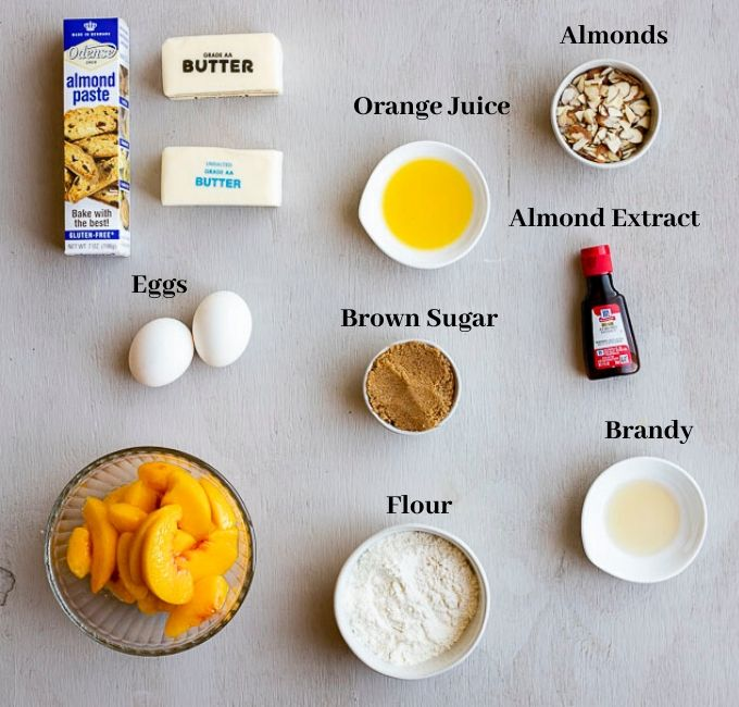 photo of ingredients used in almond tart