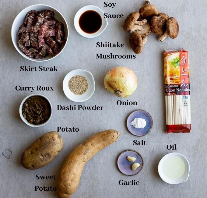 ingredients for curry udon noodles