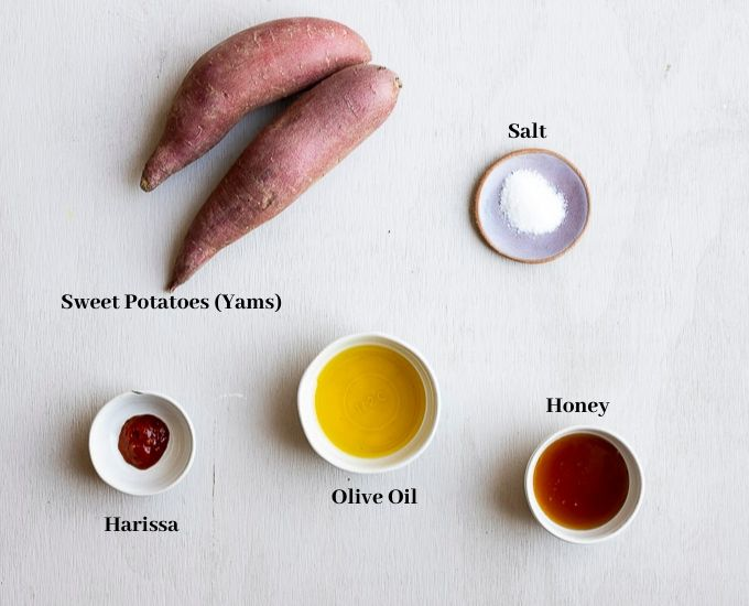 ingredients for sweet potato slices