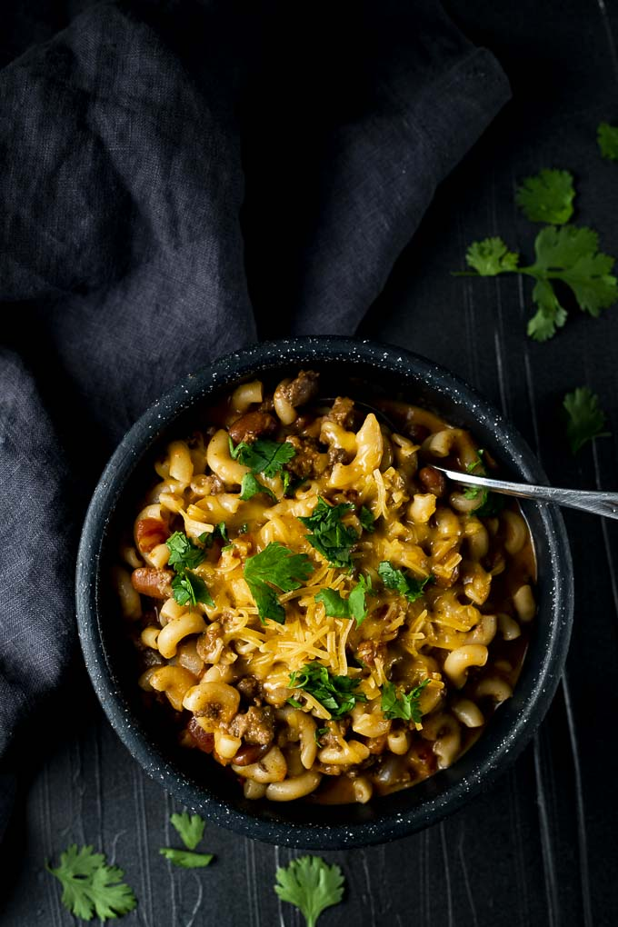 chili mac in a bowl with a spoon