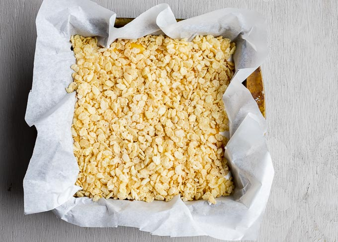rive crispies in a parchment paper lined pan
