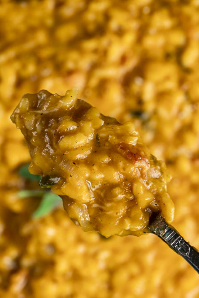 a spoon of orange colored risotto