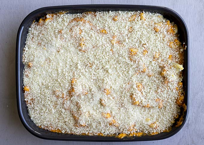 baking dish with creamy pasta covered in breadcrumbs