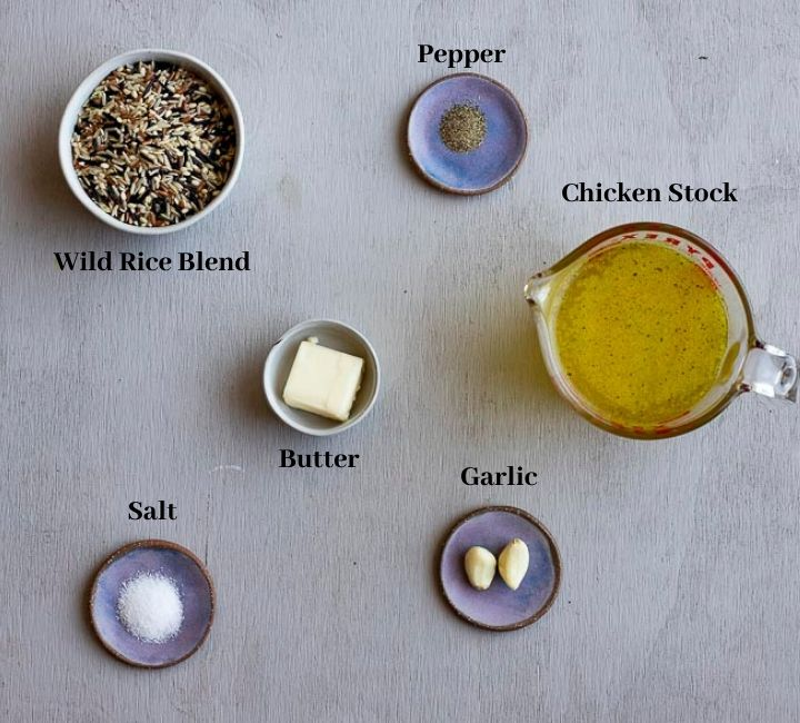 ingredients for wild rice on a board