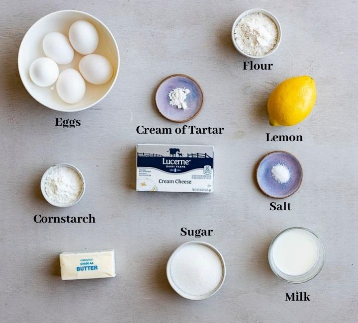 ingredients for japanese souffle cheesecake on a surface