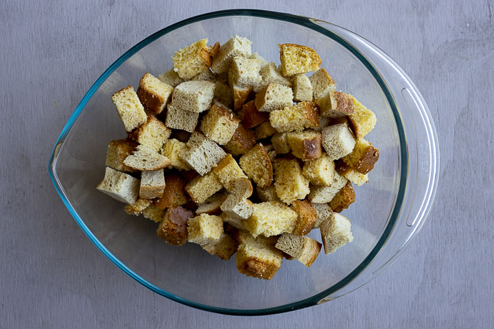 cubes of toasted bread in a bowl