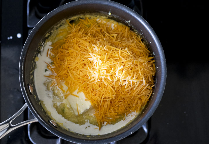 cheese, butter and cream in a pot