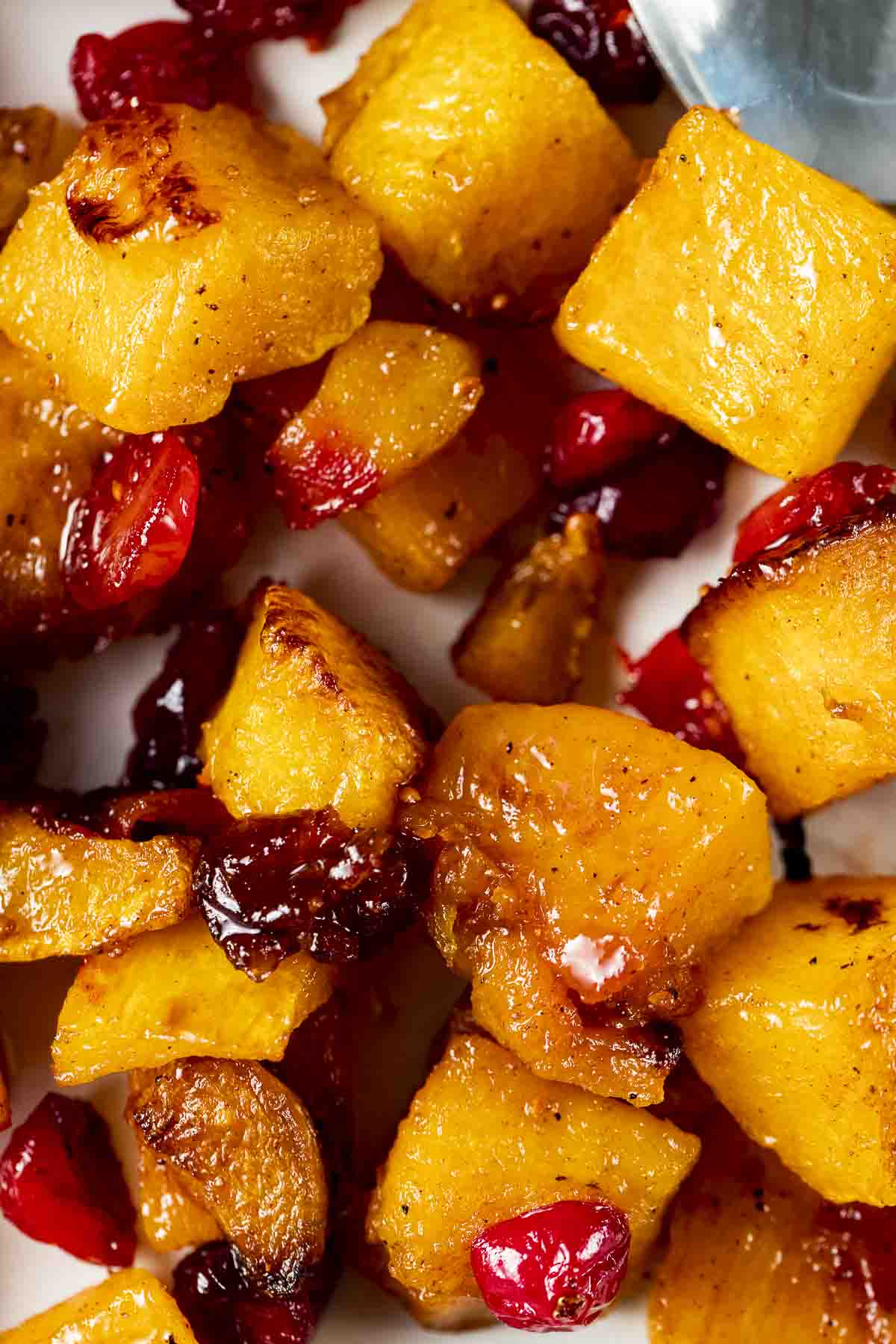 cubes of butternut squash and halved cranberries