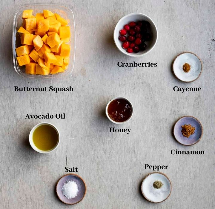 ingredients for cinnamon roasted butternut squash