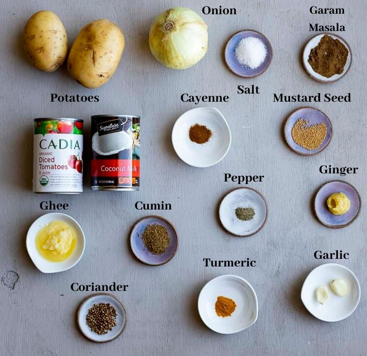 ingredients for potato curry