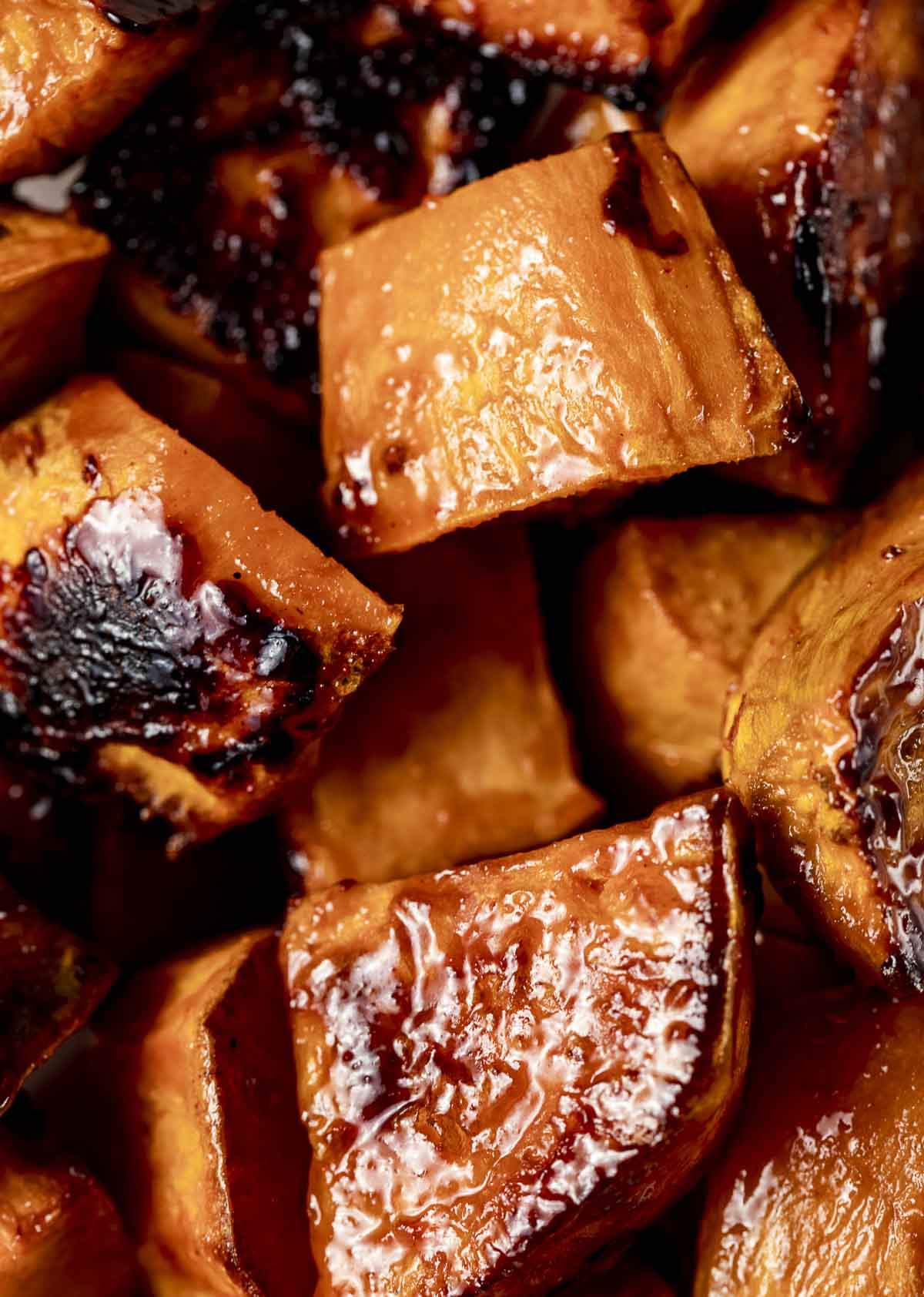 cubes of sweet potatoes in a brown colored glaze