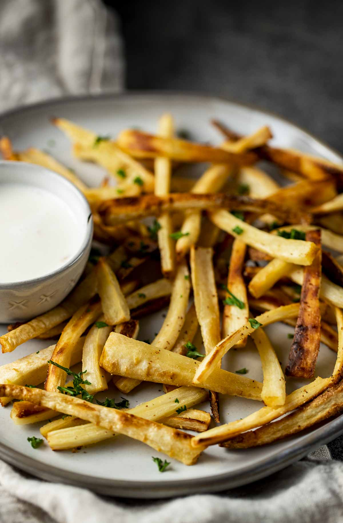 homemade parsnip fries with a side of dipping sauce