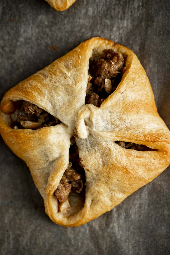 baked pastry filled with ground turkey