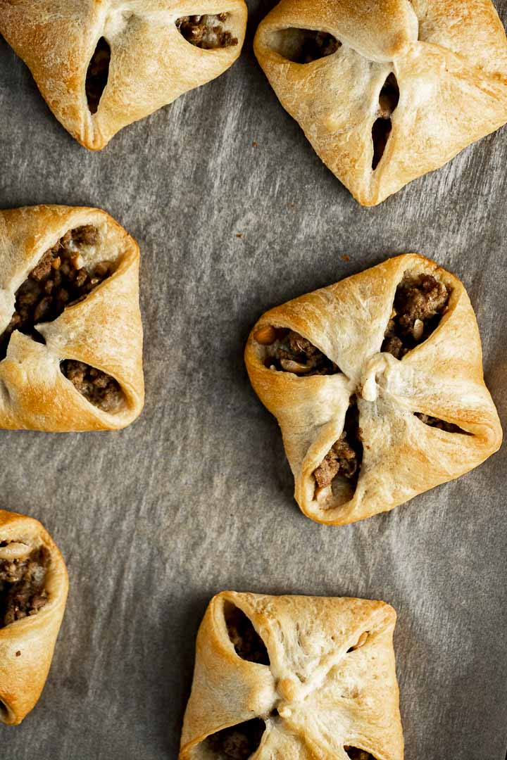 turkey hand pies on parchment paper