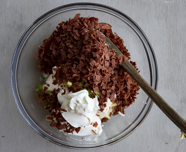 chopped dried beef and cream cheese in a glass bowl