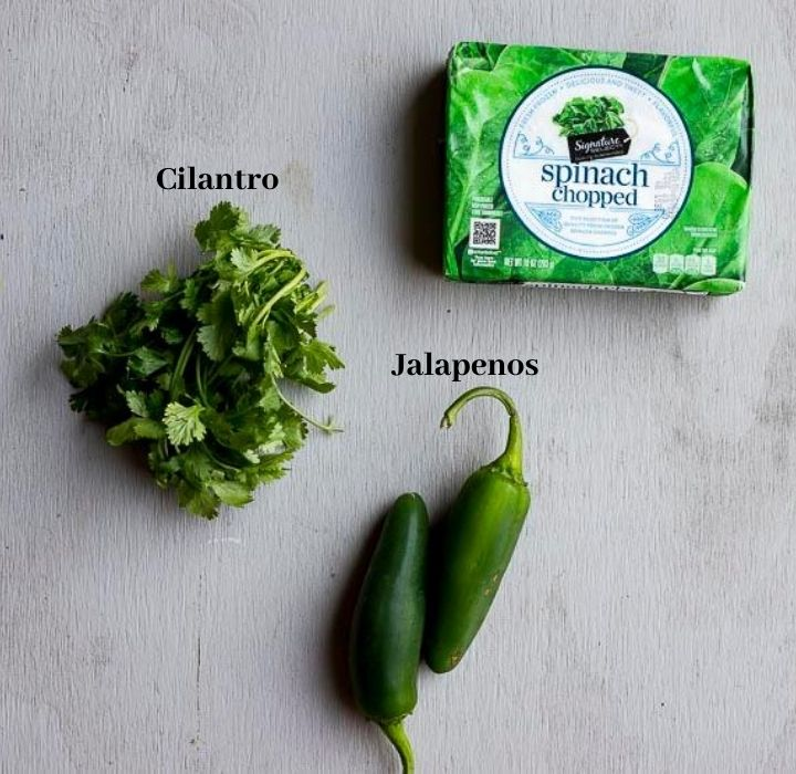 ingredients for spinach sauce