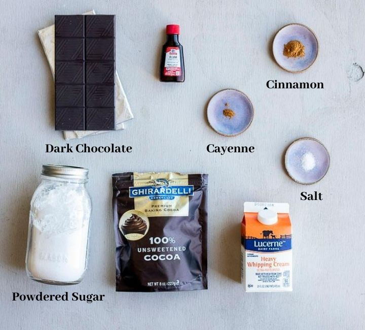 the ingredients for dark chocolate truffles