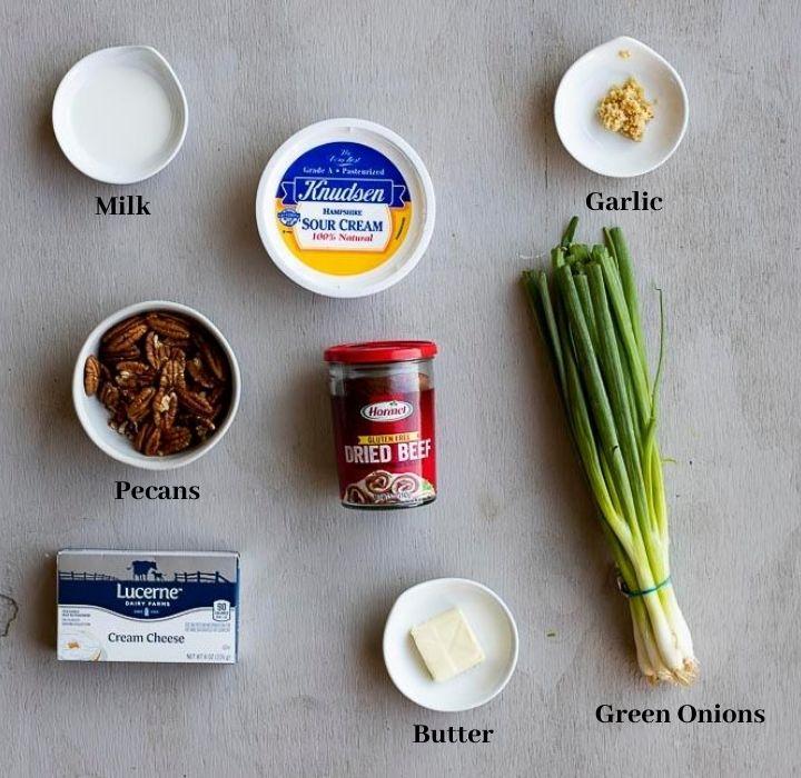 ingredients for dried beef dip