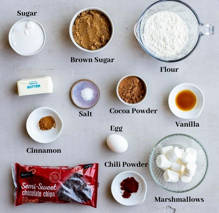 ingredients for Mexican chocolate cookies