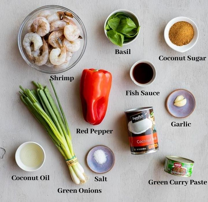 ingredients for thai shrimp curry