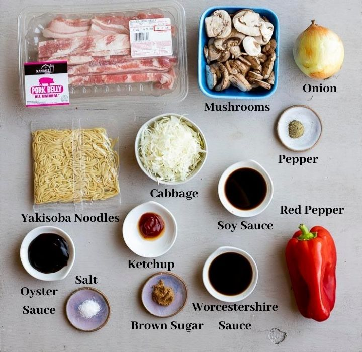 ingredients for yakisoba noodles