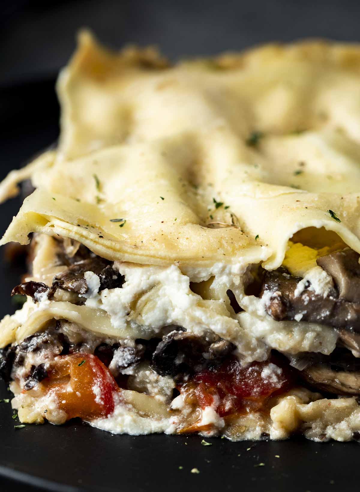 close up of mushroom lasagna filling