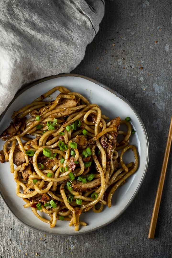 stir fried noodles with brown sauce on a plate garnished with green onions