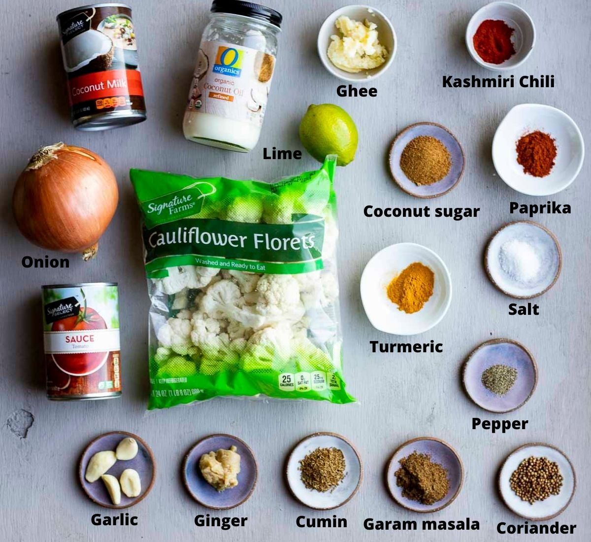 ingredients for cauliflower tikka masala