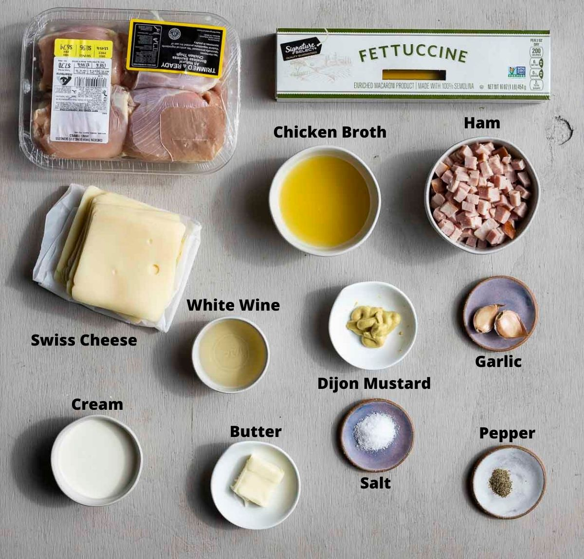ingredients for chicken cordon bleu pasta