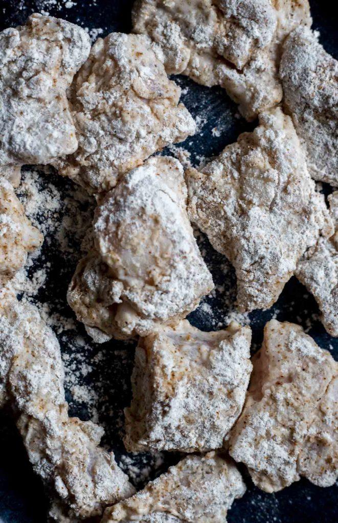 flour coated alligator chunks