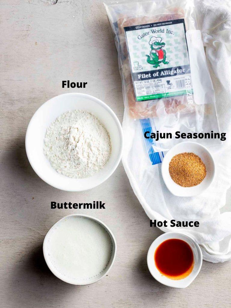 ingredients for fried alligator bites