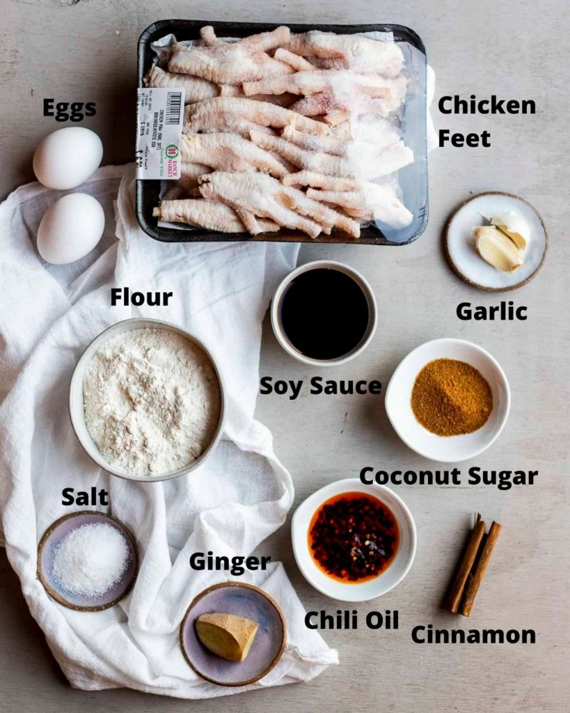 ingredients for fried chicken feet