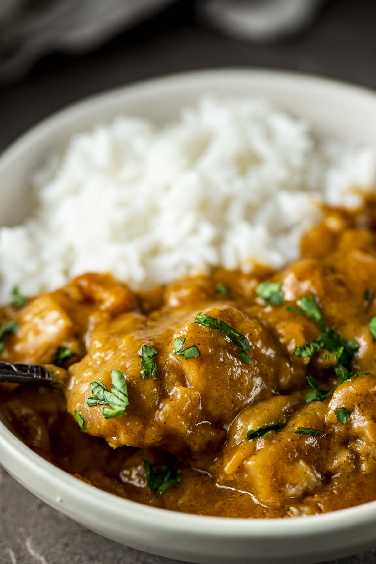 chicken curry being scooped with a spoon