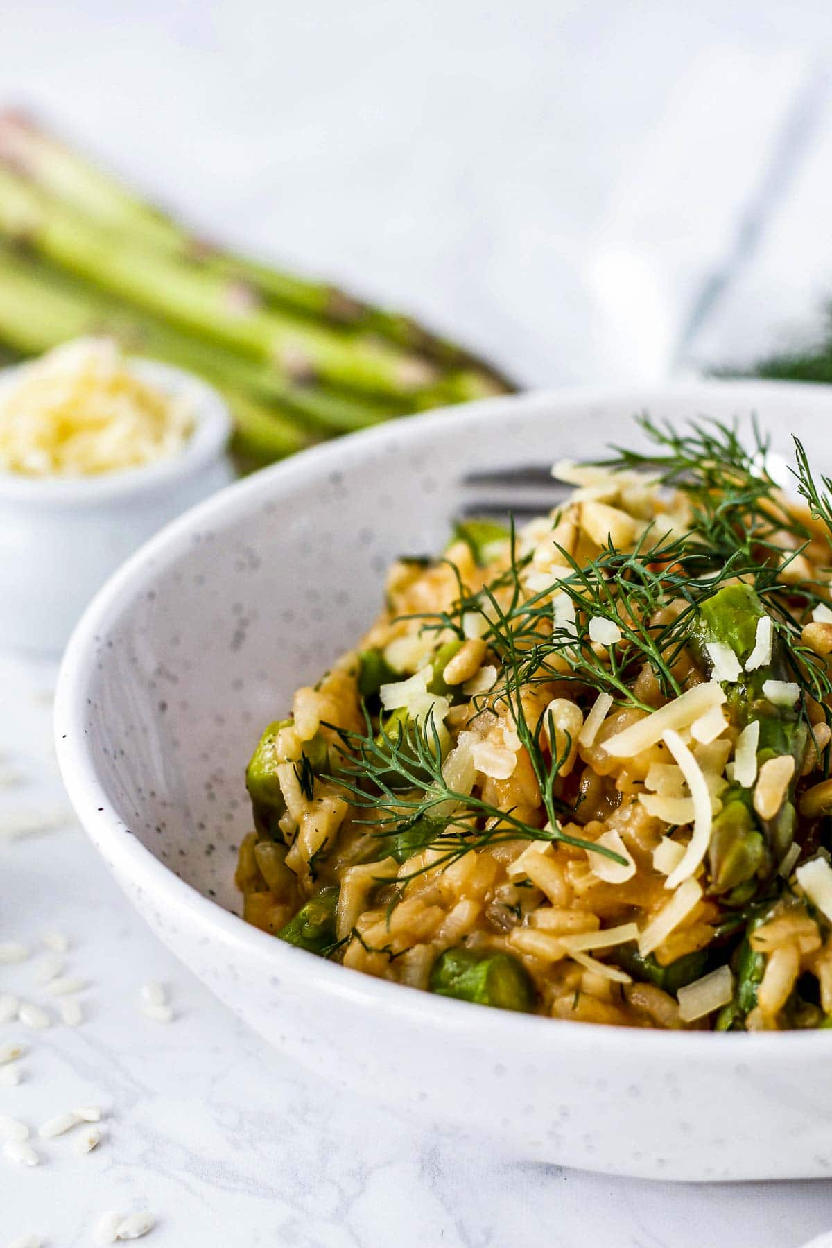 Close up of asparagus risotto.