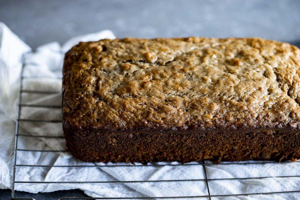 side view of a loaf of brown banana bread