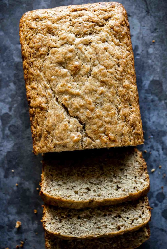 banana bread sliced into pieces - top down photo of load