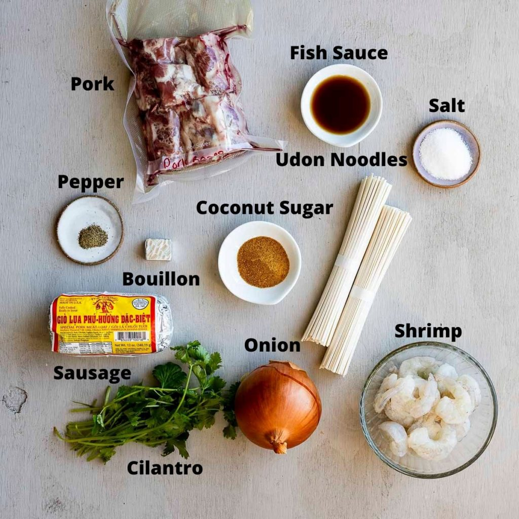 ingredients for banh canh soup
